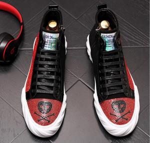 2019 Nuovo concetto Uomini alta aiuto scarpa bianca strass mocassini per il tempo libero uomini brevi stivali da sposa banchetto di scarpe in pelle BM652