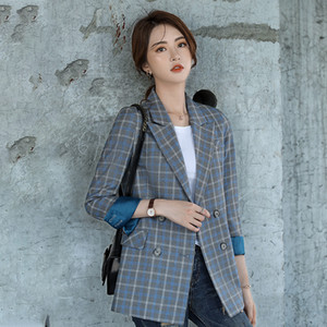 Women's Jacket Large Size S-4XL Casual double-breasted loose plaid ladies blazer Autumn and winter new office suit high quality