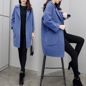 4 Color 3XL New Vintage Women Woolen Coat Female Korean Cashmere Coat Harajuku Casual Long Woolen Jacket Winter Feminino