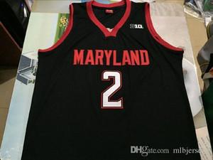 Günstige NCAA # 2 Melo TRIMBLE JERSEY MARY Terrapins Throwbacks College-Basketball-Trikots Männer genähtes Rote weiße schwarze Jersey