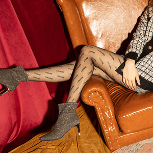 Medias 2020 ms personalidad tendencia ultrafino a través de la letra de la piel impresión de moda pantimedias salvaje sexy anti-gancho alambre leggings nuevo estil