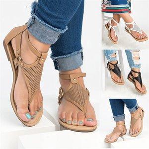 Ahuecando hacia fuera las sandalias del dedo del pie abierto Señoras del verano Big Code Zapatilla de fondo plano estilo de Roma antidesgaste Zapatos 32ft I1