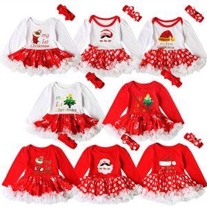 Одежда для девочки Детские Рождественские Рождественские Рождественские Рождественские Одиночные Одежда Рождественская Санта-Клаус Комбинезон для волос Костюмы TUTU Юбки Triangular Onesies D6273