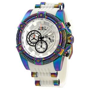 INVICTA reloj Perno Hombres Modelo 25528 - Reloj de cuarzo de Japón de los hombres de 52 mm de acero inoxidable de silicona de poliuretano Reloj de los hombre Dropshipping