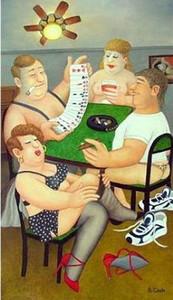 Tira de poker by beryl cook Alta Qualidade 100% Pintado À Mão HD Impressão Moderna Pop Art Pintura A Óleo Na Parede Da Lona Arte Home Office Decor p37