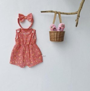 2020 new baby girls printed romper with hairband summer cotton fashion babys jumpsuit 6-24 month HV645