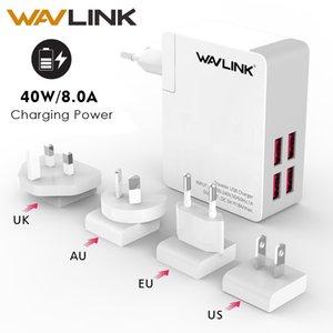 Wavlink Universal 4 Portas Viajante Usb Charger Adaptador 40 w Dc 5 v 8a Com Substituível Portátil / us / au / uk Plug Para o Telefone Móvel T190627