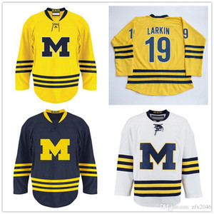 Custom NCAA 14-15 Michigan Wolverines #19 Dylan Larkin #71 Away Hokcey Jersey Blue White Yellow College Hockey Wears Stitched S-6XL