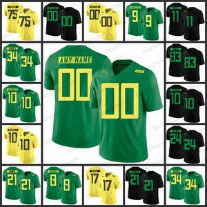 Maillots Ducks personnalisés de l'Oregon 9 Byron Marshall 10 Herbert 8 Marcus Mariota 21 Royce Freeman Maillot de football universitaire cousu