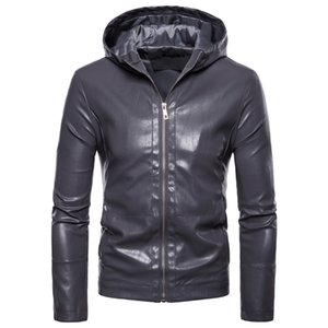2018 Fashion Handsome Autumn And Winter New Products Europe And America Fan Car Leather Coat Men's Hooded Leather Jacket Coat