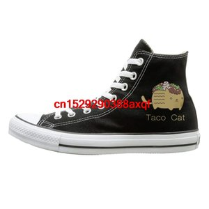 Unisex Casual Shoes Boys and Girls Sports Shoes Cute Taco Cat Canvas Shoes High Top Casual Black Sneakers Unisex Style