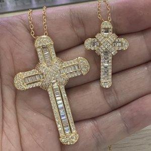 Nouveau mousseux à la main haute joaillerie 925 SilverGold Fill Grande Petite Pendentif croix Parti Christianisme Clavicule Collier Femme Cadeau