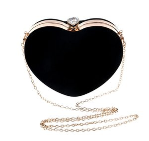 Heart Shaped Diamonds Women Evening Bags Chain Shoulder Purse Day Clutches Evening Bags For Party Wedding Suede Sac a Main