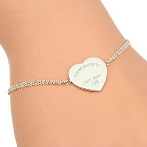 Logo Liebe Silber Designer T Doppelkettenarmband braccialetto pulsera für Männer Frauen Partei Hochzeit Luxus-Schmuck Herz TF Charme Armbänder