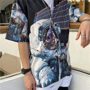 2020 Europa universo de primavera y verano de los hombres de moda USA astronautas espaciales camisa ocasional único Camisa del diseñador Tee