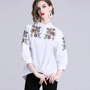 Early Autumn 2019 Embroidery 100 Frilly Waist Seven Part Sleeve Round Neck A Doll Jacket Woman Loose Jacket Rendering