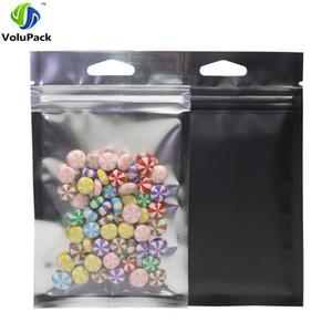 100pcs Multi Size Taschen Heat Sealing Reißverschluss oben Paket-Beutel, Hang Löcher Clear Front Mattschwarz Aluminiumfolie Mylar Zip-Verschluss