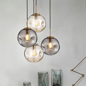 verre loft moderne lumière pendentif boule LED E27 lampe suspendue nordique avec 2 couleurs pour un restaurant chambre salon cuisine hall