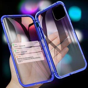 المصمم الفاخر Tongdytech Magnetic Case For Iphone 11 Pro XS MAX X 7 8 Plus Coque Metal Phone Cover Two Side Tempered Glass 360 Funda Cases