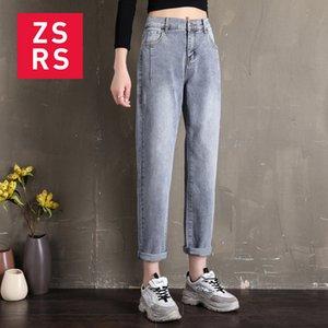 Zsrs High Waist Jeans Boyfriend Blau Robuste Jeans Frau Denim-Harem-Hosen Damen verlieren neun elastische Zehen Taille Pluderhose