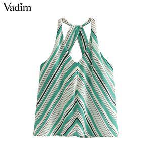 Vadim mujer elegante con estampado de rayas halter sin espalda blusa camisas con cuello en V sexy femenina de verano tops blusas WA350