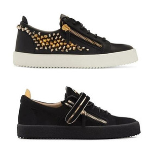 Sapatos casuais HOT Itália luxo metal botão homens e mulheres zip zipper Low Top Flat Shoes Couro Mens Shoes Designer Sneakers 35-47