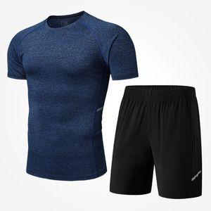 رجل اليوغا مجموعات الرجال عادية قطعتين بدلة تنفس قميص + شورت سروال نمط رجل رقيق رياضية الرياضة 4 ألوان الحجم M-4XL