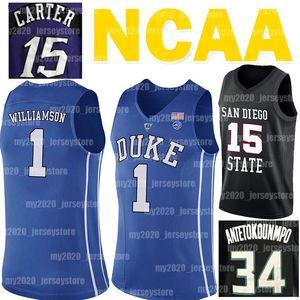 NCAA جا 12 مورانت جانيس 34 Antetokounmpo جيرسي ألن ايفرسون 3 كلية فينس كارتر 15 صهيون 1 ويليامسون كرة السلة الفانيلة