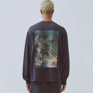 19FW FOG Fear of God Essentials floral da foto Impresso Long Sleeve moleton Crewneck T-shirt Camisola Rua Hoodies T HFYMWY266