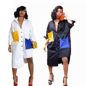 Women casual maxi shirt dress lapel collar button panelled summer clothes mid-calf long Sleeve loose fashion asymmetrical dress 666