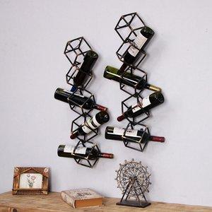 Retro Ferforje Şarap Restaurant Bar Duvar Dekorasyon Şarap Tutucu Amerikan Tarzı Duvar Dekorasyon Duvar Wine Rack Monteli Raf