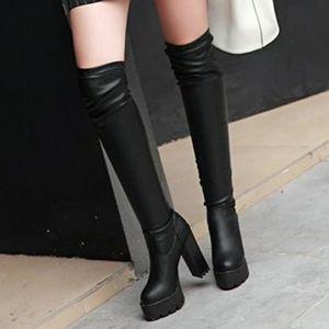 diz üstünde büyüklük 33-43 kalınlığında tek STRECHY uyluk yüksek çizmeler kış bootie moda lüks tasarımcı kadın botları siyah beyaz strech