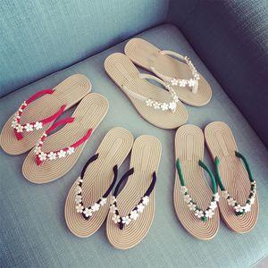 Frauen-Sommer-Punkt-Polka Blumen Flip Flops Schuhe Sandalen Slipper Innen outdoorFlat Flip Flops Damenschuhe Zeitskleidung # 4