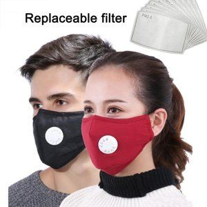 DHL Ship Washable Put Disposable One Filter PM2.5 Activated Carbon Black Mouth Mask Anti Dust Mask Windproof Bacteria Proof Reusable Masks