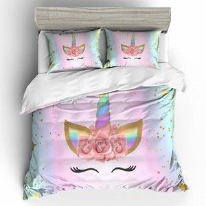 Nette 3D Unicorn Bettwäsche Kinder Printed Bettbezug und Kissenbezüge Mädchen Bettwäsche Sets 3X Königin King Size