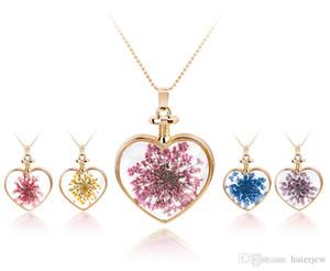 Kette Halskette transparent Kristallglas Runde schwimmende Medaillon getrocknete Blume Silber Anhänger Medaillon Halsketten