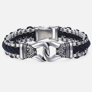 Trendsmax Bracciali da uomo in pelle nera Strand acciaio inossidabile braccialetto nodo moda maschile gioielli Dropshipping regali 13mm Hb496 J190719