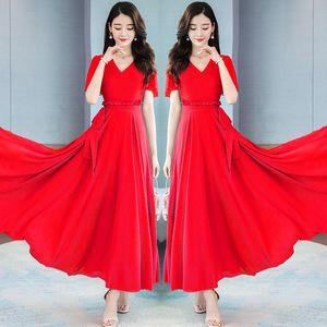 Solid color dress women's temperament chiffon beach big swing slim long skirt summer clothing ladies dresses