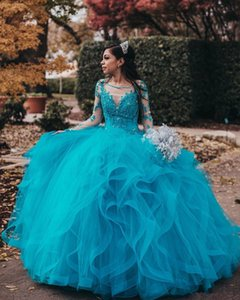Elegant Sheer Neck Lace Beaded Quinceanera Dresses Long Sleeves Tulle Miss Pageant Gowns Evening Party Sweet 16 Prom Dresses