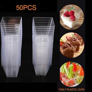 2 ons / 60ml Mini Kare Tatlı Kupası Küp Plastik Numune Bulaşık Kek jöle puding Bardaklar Parti Mutfak Aksesuarları