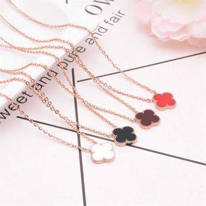 mode coréenne à quatre feuilles en titane acier collier femmes trèfle rose collier en or collier concepteur dames bijoux pendentif