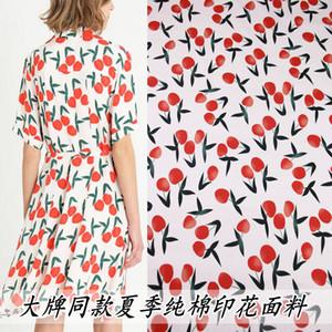 Summer thin cotton cloth peach printing cotton parent-child dress fabric handmade diy shirt fabric brand fashion cloth