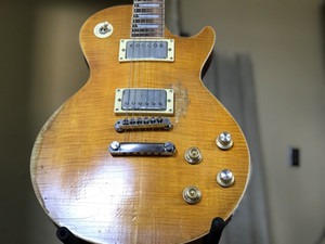 Negozio personalizzato Gary Moore Aged 1959 UNBUST BUTTERSCOTCH Heavy Reling Flame Maple Top Guitar Electric Guitar One Piece Machogany Collo del corpo (senza SCAF)