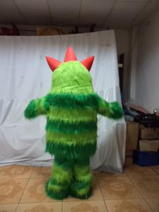 monstruo peludo verde de Halloween traje de la mascota de alta calidad ogro bugbear animado personaje de dibujos animados tema de los trajes de Navidad de lujo del carnaval
