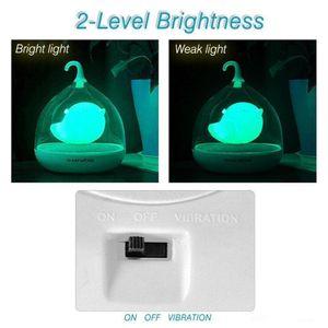 Design portátil Recarregável Sensor de Toque Vibração 4 cores led Birdcage Lamp LED Bird Night Lights for Kids Touch Dimmer Bedroom Lights
