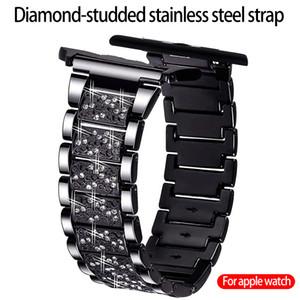 Für Apple-Uhr iWatch Band 42 / 44mm 38 / 40mm Edelstahl Strass Gurt Luxurious High-End-begabte Metallband