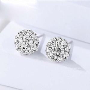 Boucles d'oreilles Shambhala Ball pour les femmes en argent sterling 925 avec boucles d'oreilles en cristal de zircon cubique élégant 6 mm 8 mm