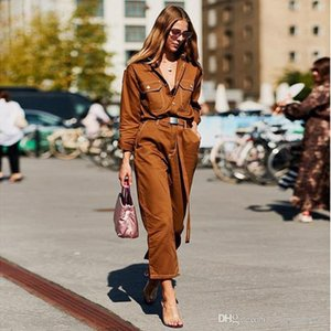 Europe explosion models 2018 autumn speed selling trousers hot new street shooting pants women's fashion slim denim jumpsuit women&#039