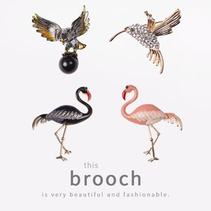 Queen Lotus Vintage Animal Flamingo Brooches for Women Fashion Acrylic Jewelry Brooch Pins For Gift