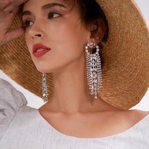 Bohemian Tassel Drop Earrings for Women Girls Long Round Sliver Gold Wedding Jewelry Female Personality Long Tassel Earrings